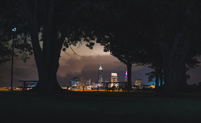 Cleveland script sign and city skyline