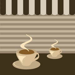 Ilustração de café com fundo castanho