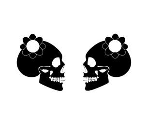 Lesbian marriage wedding couple, skull icon poster