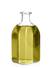 Bottle with hemp oil on white background