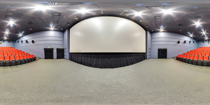 Moscow-2018: 3D spherical panorama with 360 degree viewing angle of empty cinema hall interior with red color seats and screen. Ready for virtual reality in vr. Full equirectangular projection