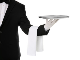 Waiter holding metal tray on white background, closeup