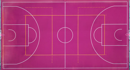 Basketball court empty for the sports game in basketball. View strictly from above with the drone.