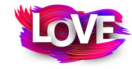 Love sign with colorful brush strokes on white.