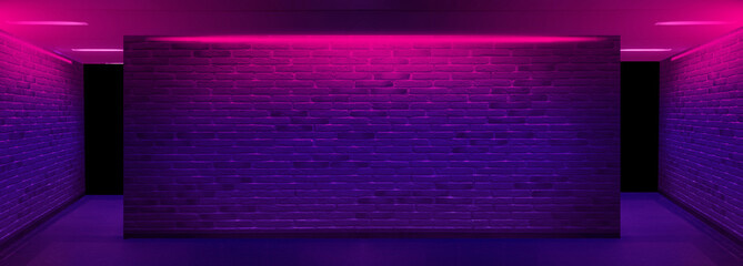 Fotomurales - Background of an empty corridor with brick walls and neon light. Brick walls, neon rays and glow