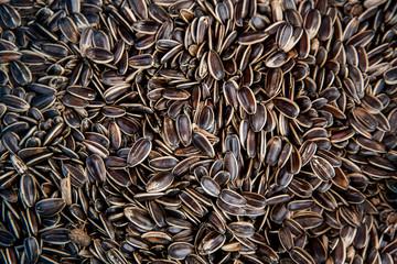 Sunflower seeds in the street market. Healthy diet.