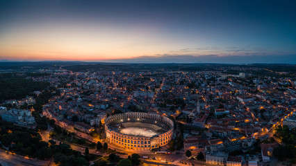 Poster Historical buildings panoramic view of Pula