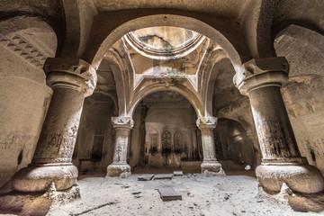 Geghard monastery interior cave chapel, Unesco heritage, Kotayk, Armenia Wall mural