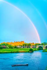 Rainbow over Carcassone, France