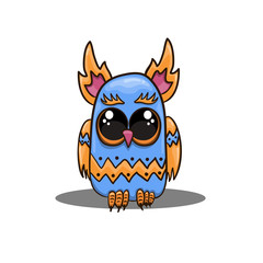 Cute vector owl in cartoon style. Cute vector owl in cartoon style. Fantastic animal illustration