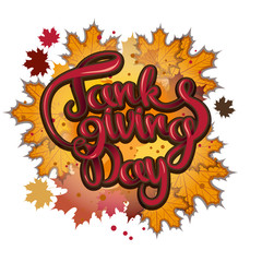 vector thanksgiving day greeting lettering phrase - happy thanksgiving on a background of maple autumn leaves.