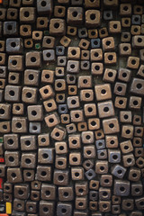 multicolored cubes decorating wall background design, wallpaper, backdrop, abstract dice, box or bead shape.