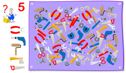 Logic puzzle game for young children. Help the worker to find his tools scattered in the picture. Need to search each instrument five times. Developing skills for counting. Vector cartoon image.