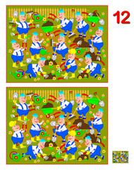 Logic puzzle game for children and adults. Need to find 12 differences. Developing skills for counting. Vector cartoon image.