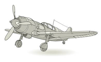 Fantasy illustration of war plane on white background. Model of fighter mid-twentieth century. Hand-drawn vector image.