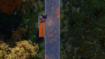 Top view of pavement walkway lit by street lamp with empty bench and fallen autumn leaves in a city park at dusk or dawn. With no people fall season 3D illustration.