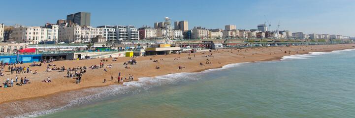 Brighton beach popular uk holiday destination panoramic view