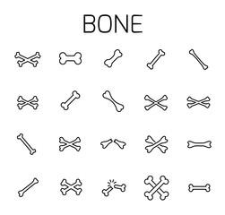 Bone related vector icon set