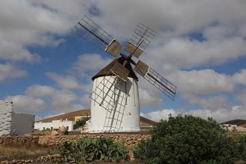 Foto auf Gartenposter Mühlen Un moulin à vent traditionnel de l'île canarienne de Fuerteventura, dans la commune de Tuineje
