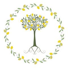 Garland of leaves, lemon and orange blossoms with lemon tree inside