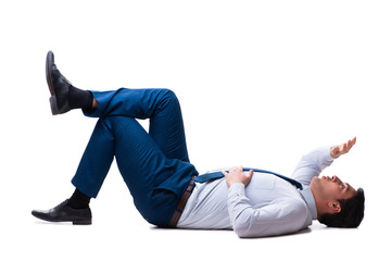 Businessman lying on the floor isolated on white