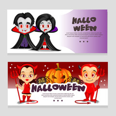 halloween theme banner with vampire and little devil