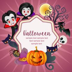 hello halloween card dracula cat pumpkin