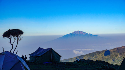 Kilimanjaro Mountain covered with snow at a camp site, Machame route, Tanzania