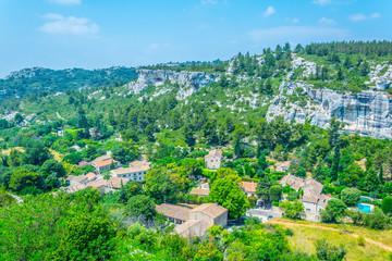 Aerial view of Les Baux des Provence village in France