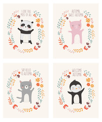 Vector collection of posters with animals surrounded by a plant wreath with autumn slogan