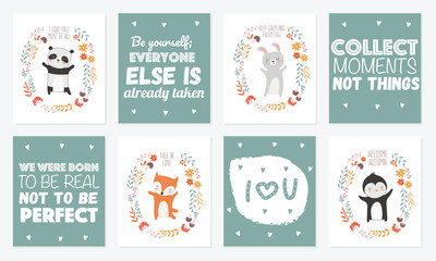 Vector collection of postcards with animals surrounded by a plant wreath with autumn slogan