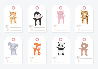 Vector collection of tags with animals. Valentine's day, anniversary, baby shower, birthday, children's party, autumn holidays