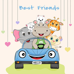 Lovely best friends hippo, giraffe, bear, cat, elephant and tiger ride in a racing car.