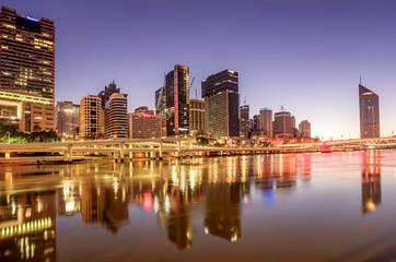 View of Brisbane over the river at sundown, Australia