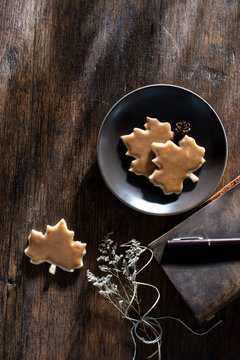 Maple Glazed Autumn Cookies