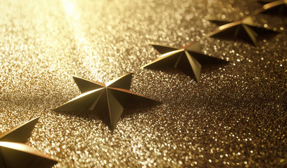 Golden stars in high relief. Concept of good qualification.