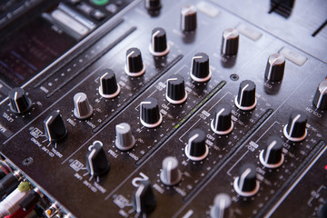 Control nobs on a sound mixing board