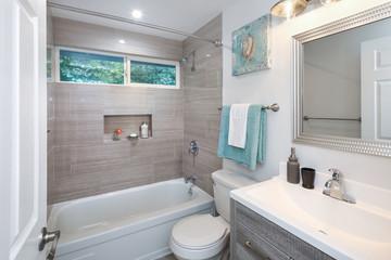 Contemporary grey and white bathroom design.