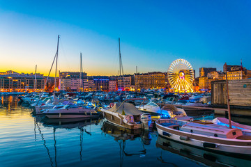 Sunset view of Port Vieux at Marseille, France