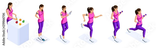 isometrics of the girl are engaged in sports sports figure proper nutrition fitness