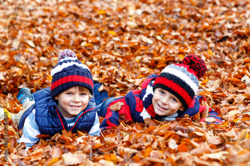 f638061dd51 Two little twin boys lying in autumn leaves in colorful clothing. Happy  siblings kids having