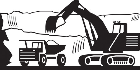 Heavy mining machinery in open pit - vector illustration