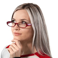 Thoughtful Woman with Glasses and Hand on Chin - Isolated