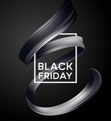 Black friday sale banner with flow color paint ribbon. Vector illustration