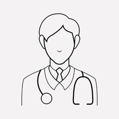 Doctor icon line element. Vector illustration of doctor icon line isolated on clean background for your web mobile app logo design.