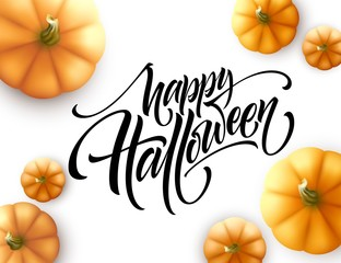 Halloween lettering with pumpkin isolated on white background. Vector illustration