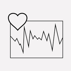 Cardiogram icon line element. Vector illustration of cardiogram icon line isolated on clean background for your web mobile app logo design.