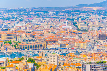 Aerial view of Port Vieux at Marseille, France