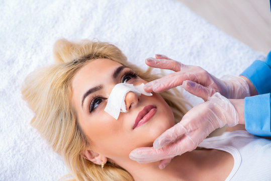 Woman getting ready for plastic surgery