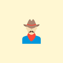 Cowboy icon flat element. Vector illustration of cowboy icon flat isolated on clean background for your web mobile app logo design.